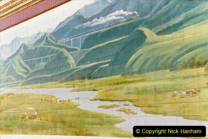 China 1999 October Number 2. (215) China Rail Deban Depot. Shed office mural.