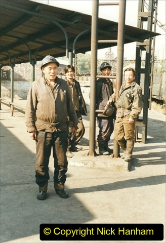 China 1999 October Number 4. (204) Tangshan Coal Mine Rail Depot. Coal Mine Branch Train Ride. Some of our mine worker passengers. 204