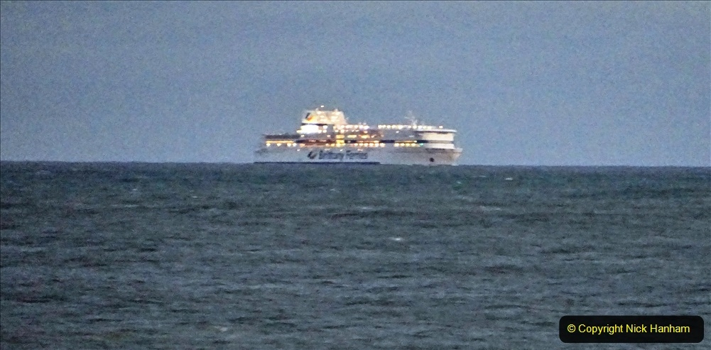 2019-12-12 Christmas Cracker & Bournemouth (67) Brittany Ferries ship leaving Southampton for Cherbourg. 067
