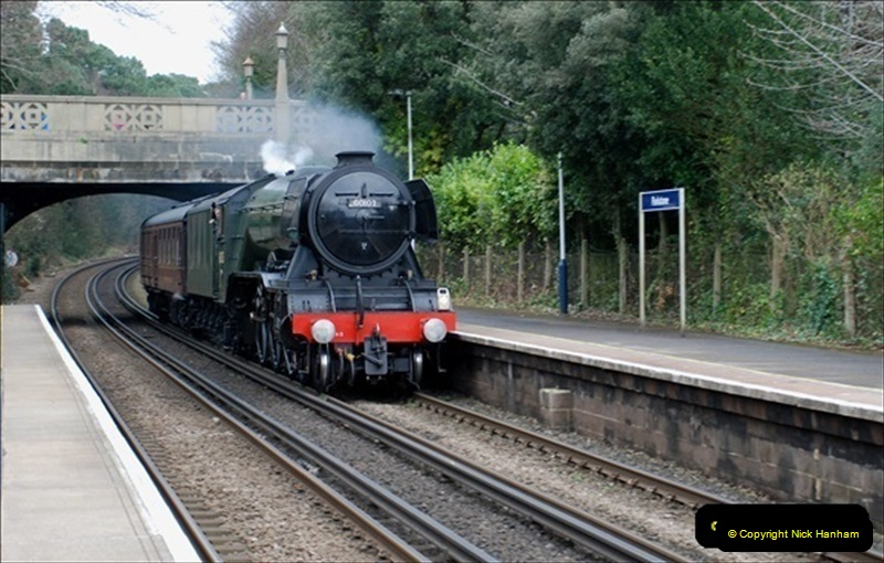 2019-03-19 Flying Scotsman at Parkstone, Poole, Dorset on route to the SR. (2) 043