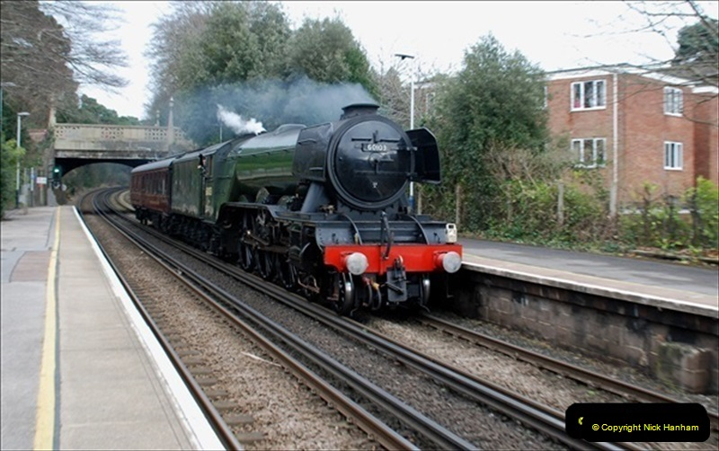 2019-03-19 Flying Scotsman at Parkstone, Poole, Dorset on route to the SR. (4) 045