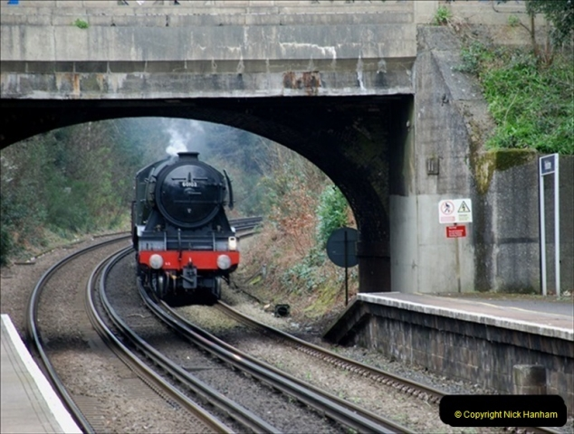 2019-03-19 Flying Scotsman at Parkstone, Poole, Dorset on route to the SR. (1) 042