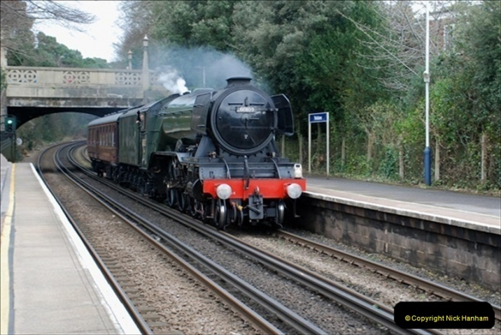 2019-03-19 Flying Scotsman at Parkstone, Poole, Dorset on route to the SR. (3) 044