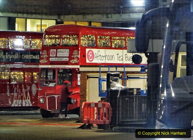 2019-12-16 London. (214) Festive Routemaster at Victoria Coach Station. 214