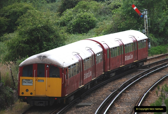 2019-06-02 MBF Meeting on the IOW. (64) Island line trains pass the Museum. 065