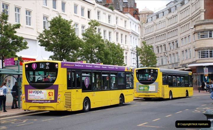 2019-07-18 More Yellow Buses Number 2 (100) Bournemouth Square 1230 to 1330 and journey home. 100