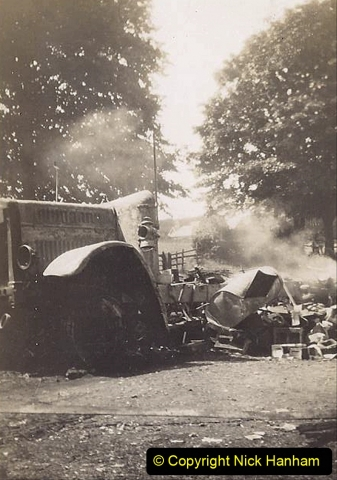 My late Stepfather Jocelyn Hanham. (50)  Photographs of accidents he took on his travels. Fire near Basingstoke. 1928. 050
