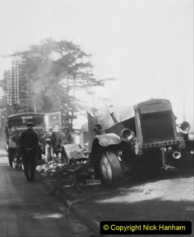 My late Stepfather Jocelyn Hanham. (51)  Photographs of accidents he took on his travels. Fire near Basingstoke. 1928. 051