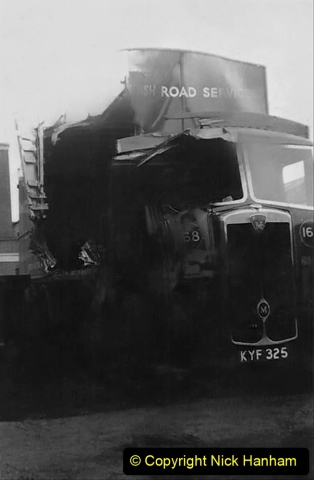 My late Stepfather Jocelyn Hanham. (56)  Photographs of accidents he took on his travels. Waterden Road, London Depot. 1950. 056