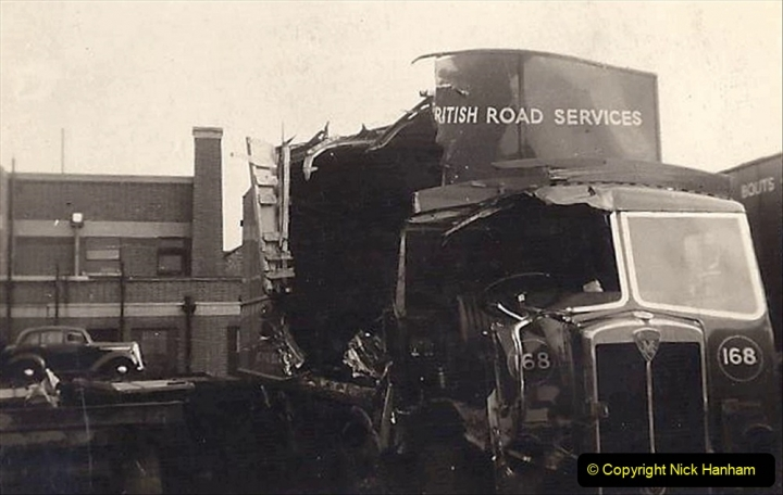 My late Stepfather Jocelyn Hanham. (57)  Photographs of accidents he took on his travels. Waterden Road, London Depot. 1950. 057