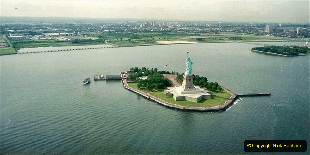 2019-11-10 New York. (141) On the way to Liberty Island. A helicopter view of Liberty Island taken in 1990 when your Host and Wife visited NY. 141
