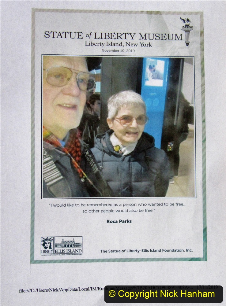 2019-11-10 New York. (203) The Statue of Liberty Museum. You can Email yourself for free and at the same time leave a PEACE message with your picture attached. 203