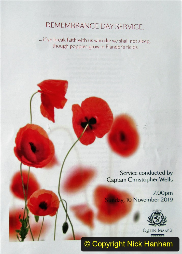 2019-11-10 New York. (430) Rememberance day evening service for Monday 11 November on Queen Mary. 430