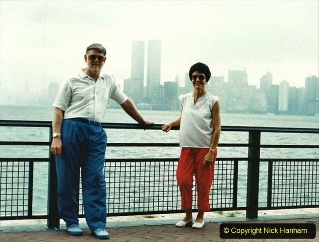 2019-11-10 New York. (176) Your Host & Wife on Liberty Island 1990 with the World Trade Centre behind us.176