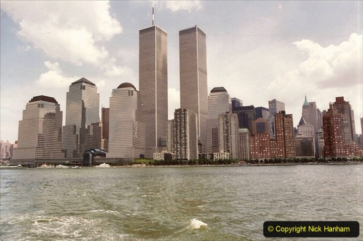 2019-11-10 New York. (177) 1990 the World Trade Centre as we approach Liberty Island.177