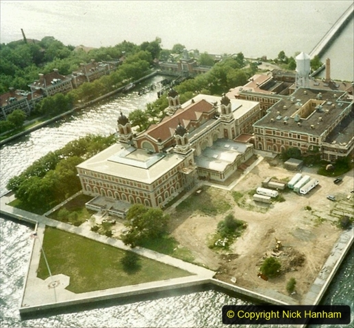 2019-11-10 New York. (212) Ariel view of Ellis Island from our 1990 helecopter flighr over NY. 212