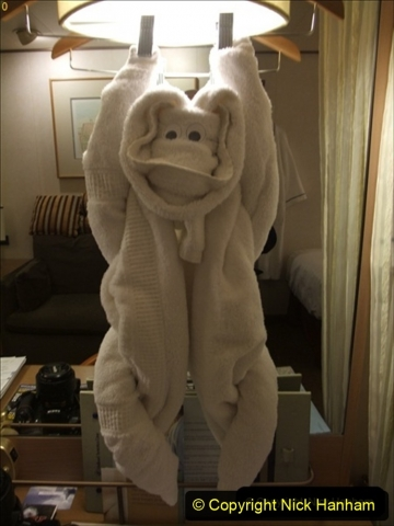 2012-05-13 to 20 Norway Cruise. On board towel folding. food & crew good bye.  (6)079
