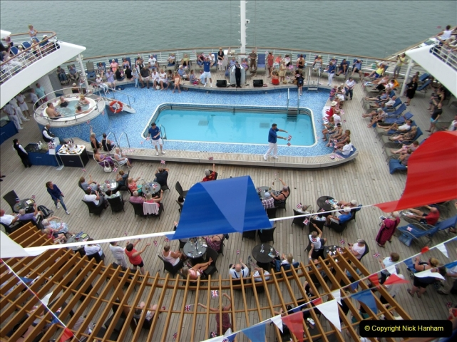 2019 June 28 to 05 July P&O MV Oriana France, Spain and Guernsey. (180) La Rochelle, France. Sailaway Party.180