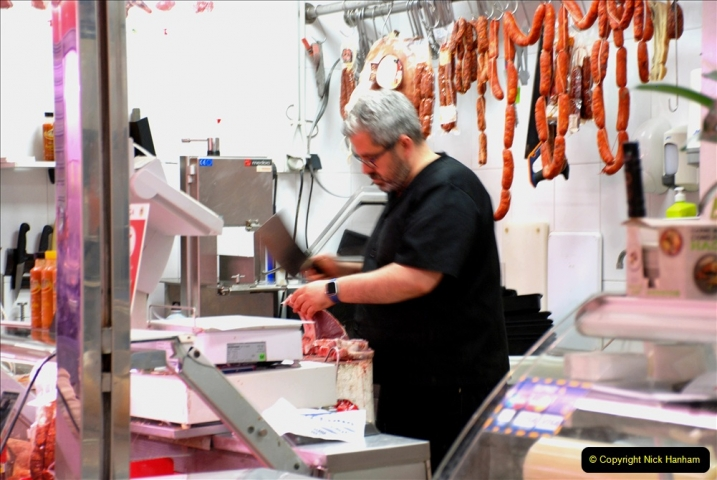2019 June 28 to 05 July P&P MV Orian France, Spain and Guernsey. (201) Ferrol, Spain. Market and meat market. 201