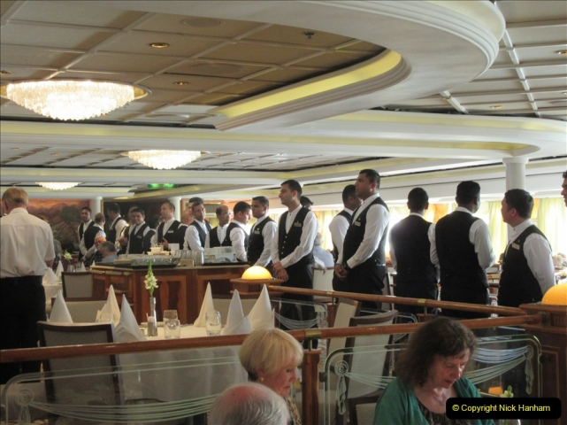 2019 June 28 to 05 July P&) MV Orian France, Spain and Guernsey. (46) All the waiters sing to us. 46