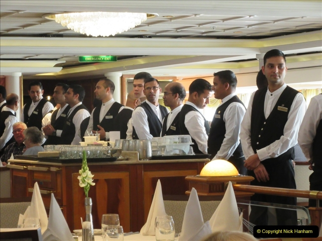 2019 June 28 to 05 July P&) MV Orian France, Spain and Guernsey. (47) All the waiters sing to us. 47