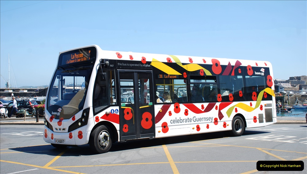 2019 June 28 to 05 July P&O MV Oriana France, Spain and Guernsey. (138) Guernsey CI. The Poppy Bus. 138