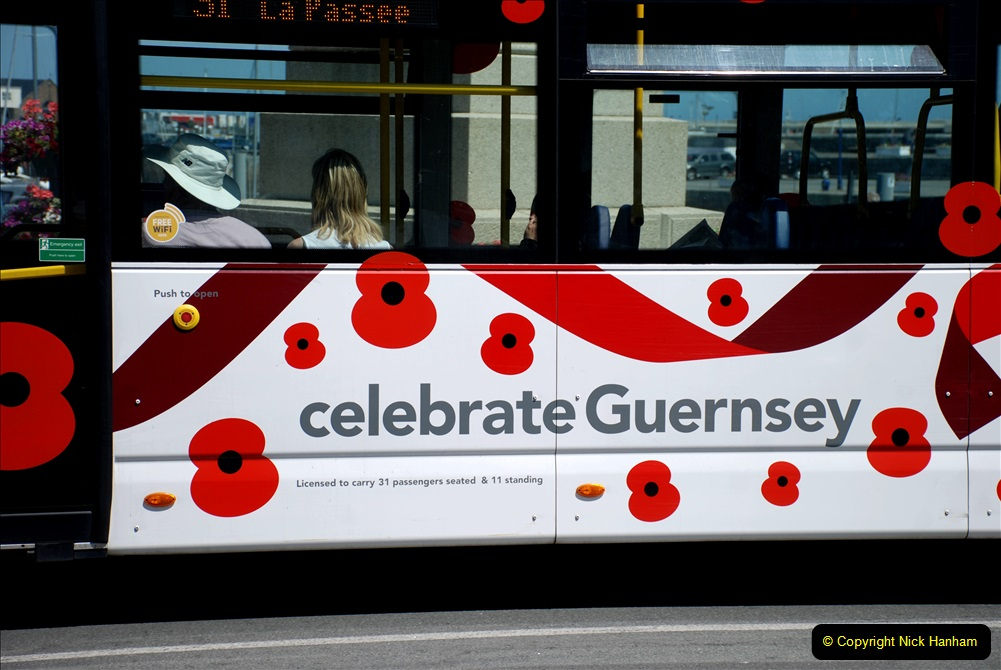 2019 June 28 to 05 July P&O MV Oriana France, Spain and Guernsey. (139) Guernsey CI. The Poppy Bus. 139