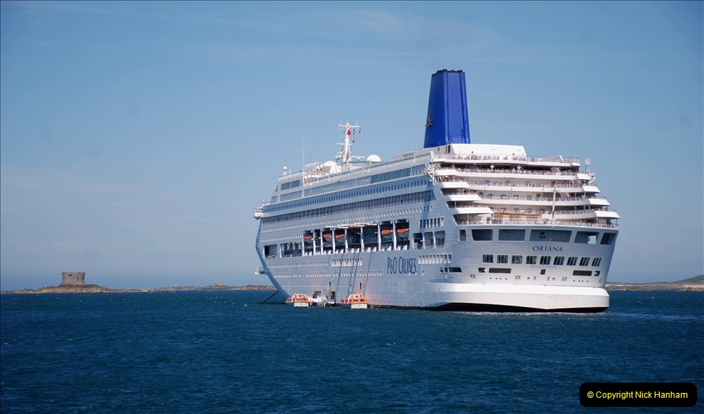 2019 June 28 to 05 July P&O MV Oriana France, Spain and Guernsey. (206) Guernsey CI. Tender back to our ship. 206