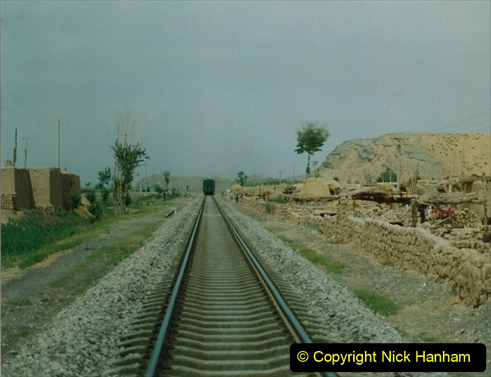 Pakistan and China 1996 June. (133) Linesiding on the way to Baotou and local village and farm.  133