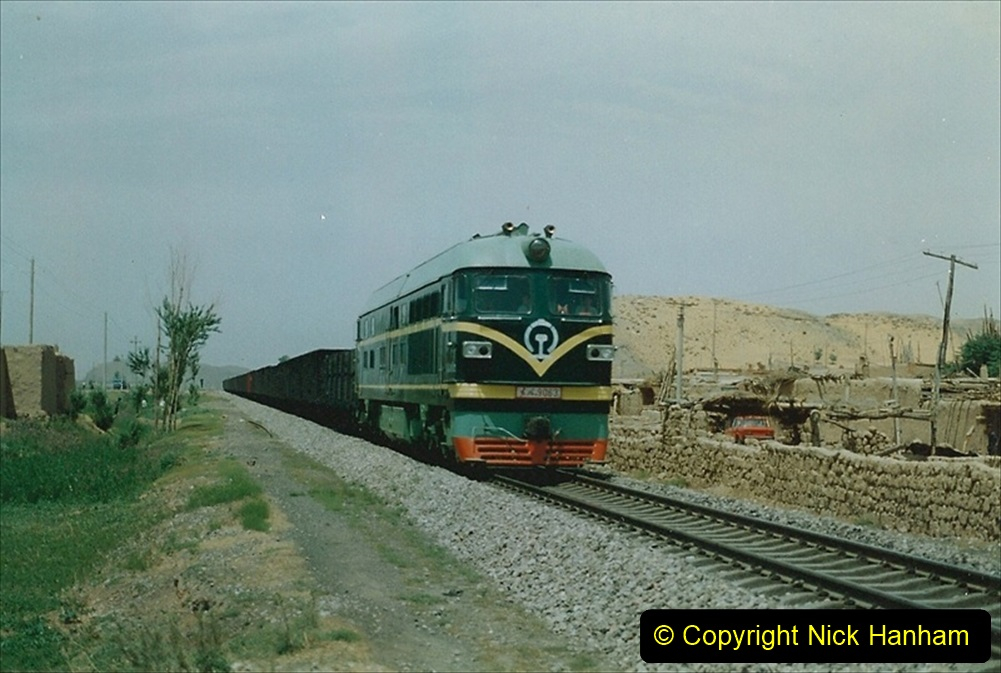 Pakistan and China 1996 June. (134) Linesiding on the way to Baotou and local village and farm.  134