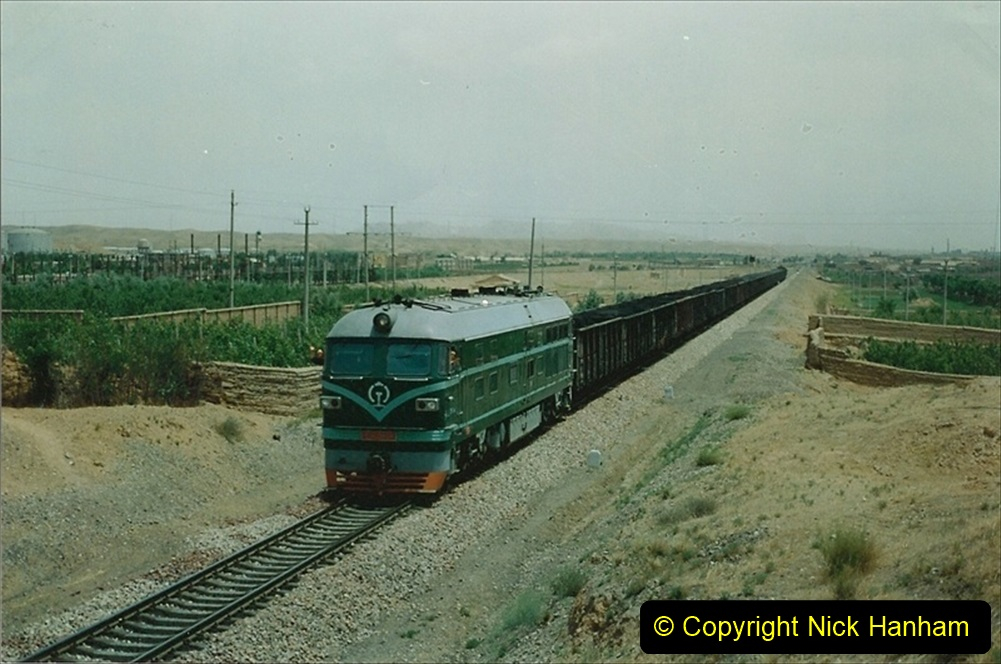 Pakistan and China 1996 June. (145) Linesiding on the way to Baotou and local village. 145