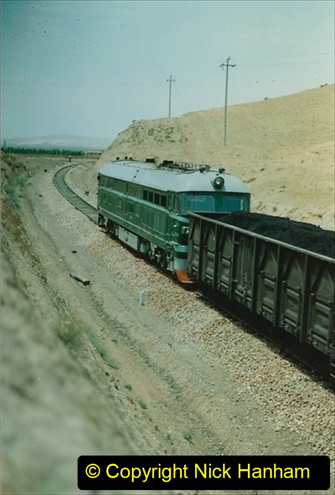 Pakistan and China 1996 June. (147) Linesiding on the way to Baotou and local village. 147