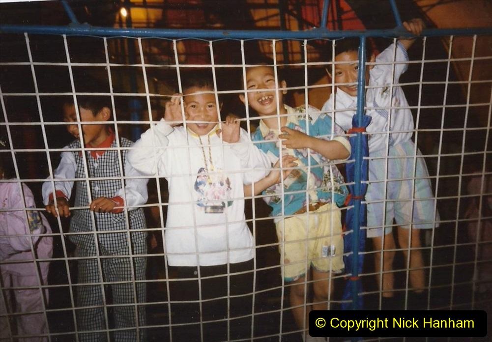 Pakistan and China 1996 June. (96) Nightlife in Zhongwei. 096