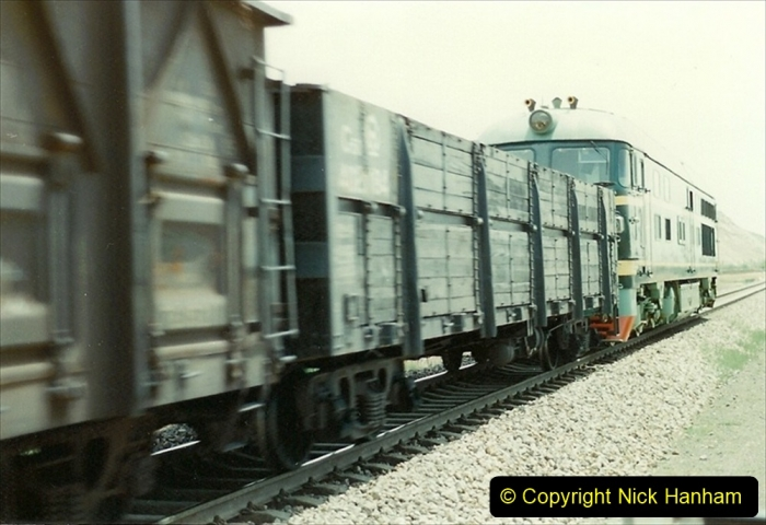 Pakistan and China 1996 June. (135) Linesiding on the way to Baotou and local village and farm.  135
