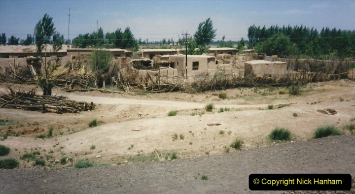 Pakistan and China 1996 June. (137) Linesiding on the way to Baotou and local village and farm.  137
