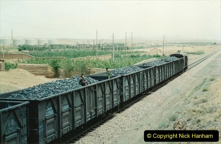 Pakistan and China 1996 June. (148) Linesiding on the way to Baotou and local village. 148