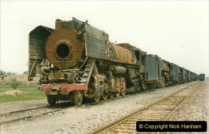 Pakistan and China 1996 June. (37) Zhongwei China Rail Depot. No more steam on the big hill. 037