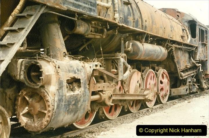 Pakistan and China 1996 June. (38) Zhongwei China Rail Depot. No more steam on the big hill. 038