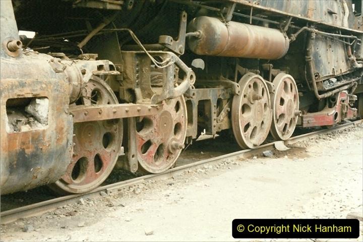 Pakistan and China 1996 June. (42) Zhongwei China Rail Depot. No more steam on the big hill. 042