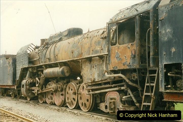 Pakistan and China 1996 June. (44) Zhongwei China Rail Depot. No more steam on the big hill. 044