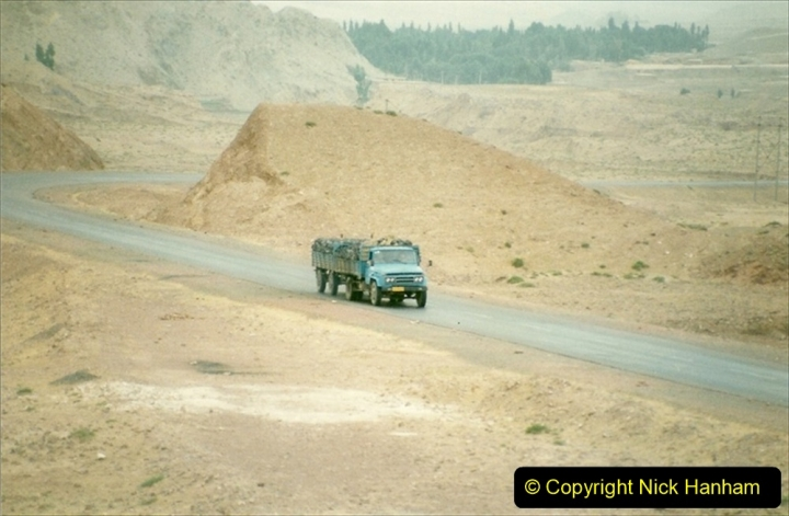 Pakistan and China 1996 June. (62) On the BIG Hill outside Zhongwei now electric.  062