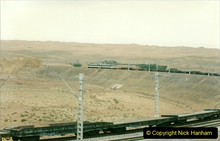 Pakistan and China 1996 June. (68) On the BIG Hill outside Zhongwei now electric.  068