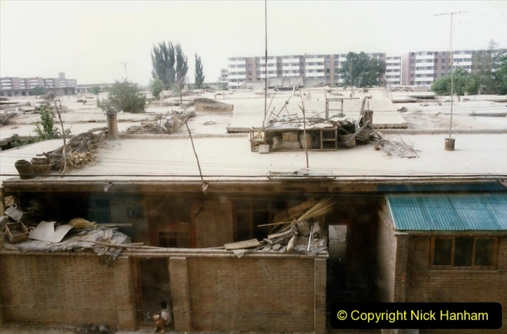 Pakistan and China 1996 June. (95) Zhongwei Hotel and my room with a view. 095