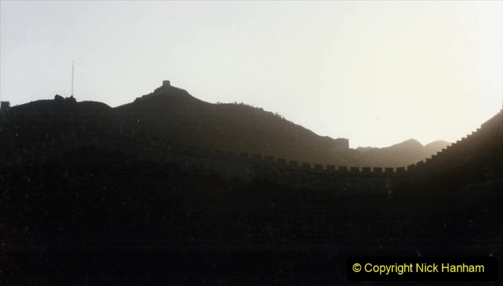 Pakistan and China 1996 June. (160) Passing The Great Wall at Sunset.160