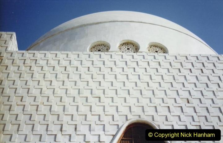 Pakistan and China 1996 June. (18) Jinnah Mausoleum. Jinnah Ali Jinnah, founder of Pakistan, is burried here. 018