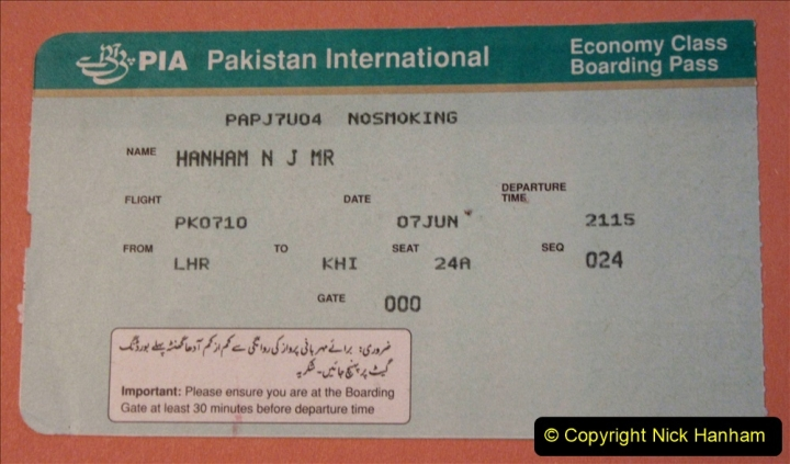 Pakistan and China 1996 June. (3) London to Karachi. 003