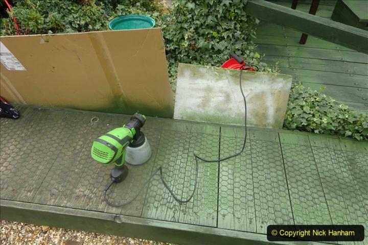 2021-03-31 Spraying deck area green. Garden makeover. (53) 053