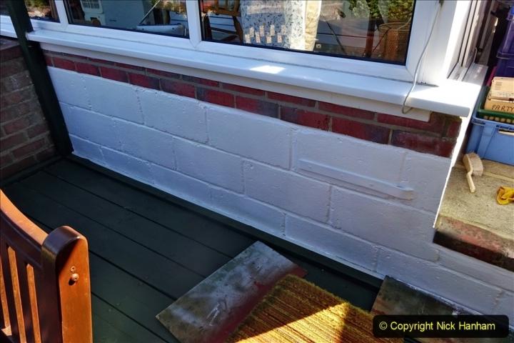 2021-04-04 Deck wall repaint. Garden makeover. (67) 067