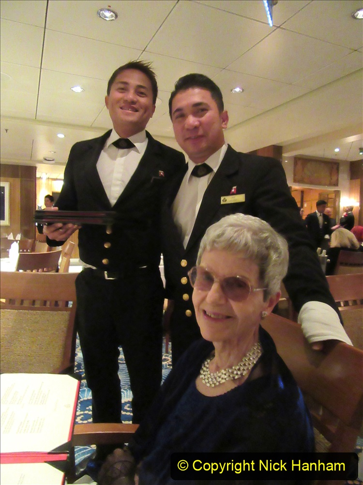 2019_11_03 to 17 Cunard's Queen Mary New York to Southampton @ first Literature Festival at Sea.  (120) Our last formal evening. Our GREAT table waiters.120