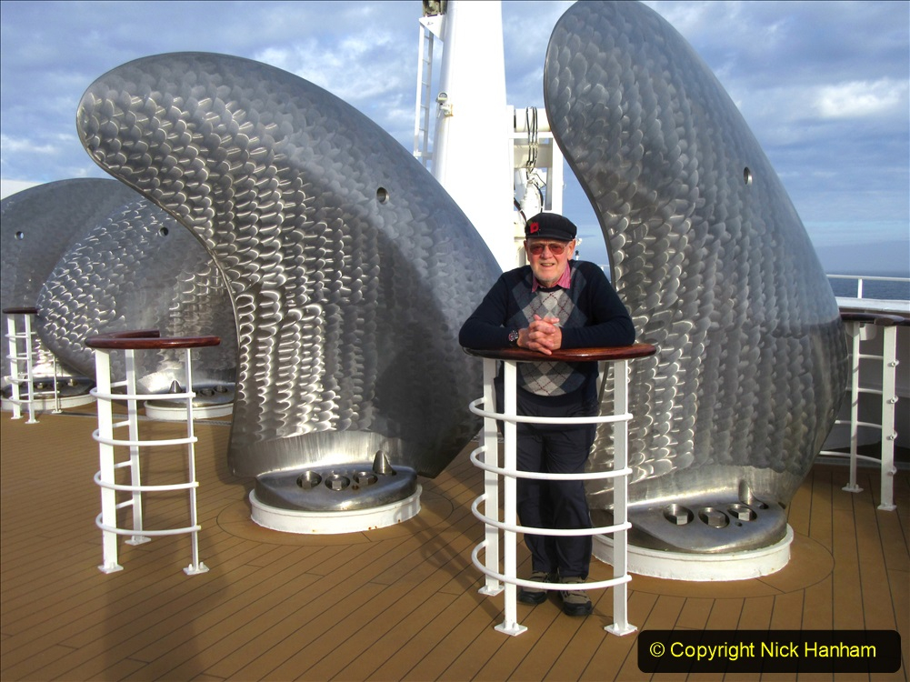 2019_11_03 to 17 Cunard's Queen Mary New York to Southampton @ first Literature Festival at Sea.  (63) Your Host & Wife on deck. 063